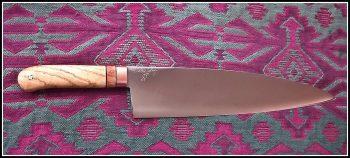 "12"" x 2.5"" kitchen knife w/ Ash wood handle"
