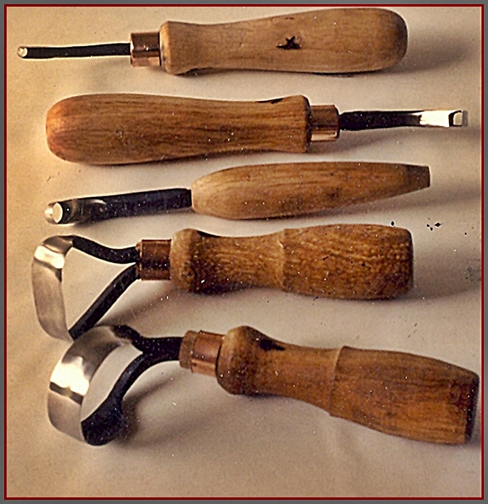 Scorp set. 1988. Hand forged drill rod.