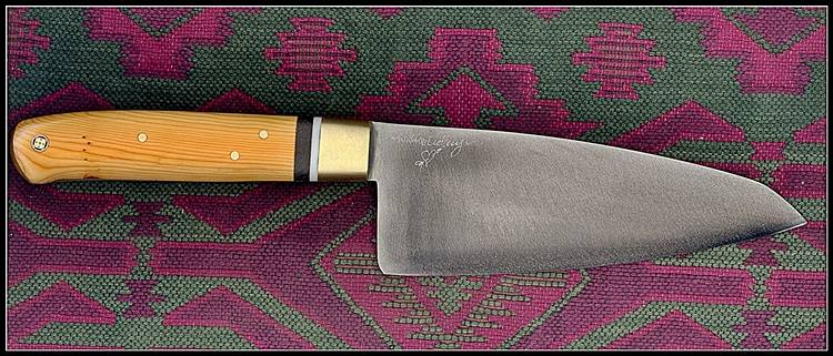 "Yew,spacers, 6"" Santoku."